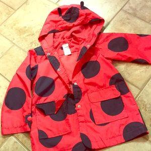 Carter's lady bug girls rain coat size 5-6
